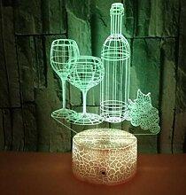 3D Riss Basis Nachtlicht Weinflasche Weinglas bunt