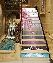 "3D Rosa blume Schwan 501 Stair Risers Dekoration Fototapete Vinyl Aufkleber Tapete DE Carly (13x H:18cm x W:94cm (7""x37""))"