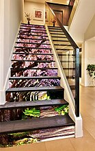 "3D Rosa Kirschblüten Pfad 5 Stair Risers Dekoration Fototapete Vinyl Aufkleber Tapete DE Carly (15x H:18cm x W:94cm (7""x37""))"