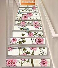 "3D Rosa Rose Vogel 407 Stair Risers Dekoration Fototapete Vinyl Aufkleber Tapete DE Carly (15x H:18cm x W:94cm (7""x37""))"