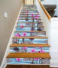 """3D Rosa Seerose Teich 41 Stair Risers Dekoration Fototapete Vinyl Aufkleber Tapete DE Carly (15x H:18cm x W:94cm (7""""x37""""))"""
