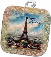 3D Rose Bild Eiffelturm auf Alter Notenplatte mit