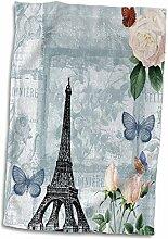 3D Rose Eiffelturm mit Rosen und Schmetterlingen