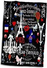 3D Rose Girly Paris Muster Stilvoll Schwarz