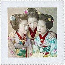 3D Rose Vintage Japanische DREI Geisha, schöne