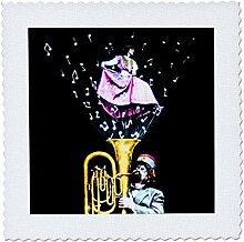 3D Rose Vintage Tuba Player und Sänger Musiknoten