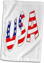 3D-Rosenbild der Buchstaben USA in Rot Weiß Blau