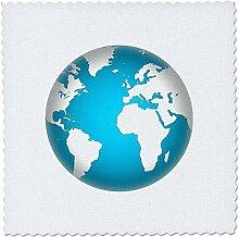 3D-Rosenbild der Weltkarte in Türkis mit etwas
