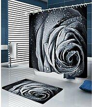 3D Rosenmuster Duschvorhang Badewanne
