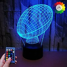 3D Rugby Illusions LED Lampen Fernbedienung USB