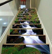 """3D Schaukeln Wasserfall Fluss 029 Stair Risers Dekoration Fototapete Vinyl Aufkleber Tapete DE Carly (15x H:18cm x W:102cm (7""""x40""""))"""