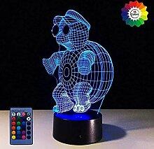 3D Schildkröte Lampe USB-Kabel Fernbedienung 7/16