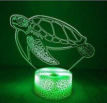 3D Schildkröten Lampe USB Power 7 Farben Amazing