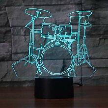 3D Schlagzeug Drum Optische Illusions Lampe 7