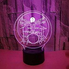 3D Schlagzeug Lampe USB Power 7 Farben Amazing