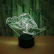 3D Schlitten Lampe USB Power 7 Farben Amazing