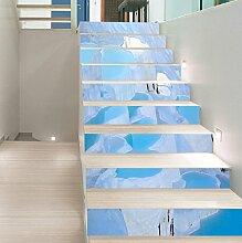 "3D Schön Eis Fluss 50 Stair Risers Dekoration Fototapete Vinyl Aufkleber Tapete DE Carly (15x H:18cm x W:102cm (7""x40""))"