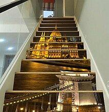 """3D Schön Stadt Nachtansicht 11 Stair Risers Dekoration Fototapete Vinyl Aufkleber Tapete DE Carly (15x H:18cm x W:102cm (7""""x40""""))"""