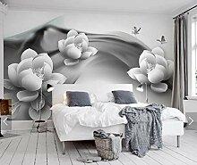 3D Schwarz Weiß Seerose Schmetterling Wandbild
