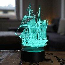 3D Segelboot Nachtlampe Art Deco Lampe LED Lichter