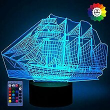 3D Segeln Lampe USB-Kabel Fernbedienung 7/16