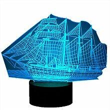 3D Segeln Lampe USB Power 7 Farben Amazing Optical