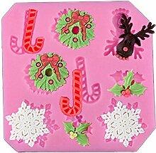 3D Silikon Weihnachten Schneeflocken Girlande Rentier für Fondant Schokolade Jello Kuchen Candy Muffin Cupcake Dekorieren Werkzeuge