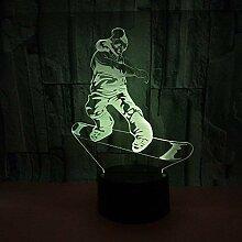 3D Skateboard Lampe USB Power 7 Farben Amazing