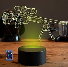 3D Sniper Rifle Gun Nachtlicht USB Powered Touch