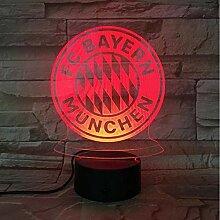 3D Soccer Team Club Logo USB LED Nachtlicht Jungen