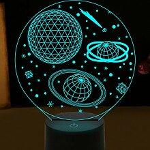 3D Solar System Optische Illusions Lampe 7 Farben