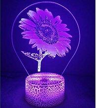 3D Sonnenblumen Lampe USB Power 7 Farben Amazing