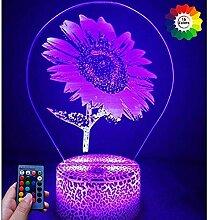 3D Sonnenblumen Lampe USB Power Fernbedienung 7/16