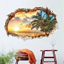 3D-Sonnenlicht Strand Wand Aufkleber für Wohn-/Schlafzimmer/Zimmer/Kindergarten/Kinder Zimmer Einrichtung Kunst Aufkleber