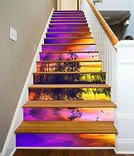 "3D Sonnenuntergang Fluss Baum 6943 Stair Risers Dekoration Fototapete Vinyl Aufkleber Tapete DE Carly (13x H:18cm x W:102cm (7""x40""))"