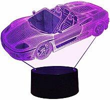3D Sportwagen Auto Lampe USB Power 7 Farben