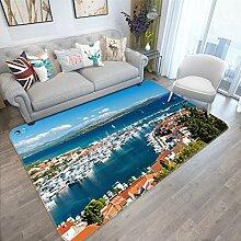 3D Stadt Meer Dock 293 Rutschfest Teppich Matte
