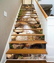 "3D Stein Fluss Natur 495 Stair Risers Dekoration Fototapete Vinyl Aufkleber Tapete DE Carly (15x H:18cm x W:102cm (7""x40""))"
