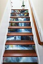 "3D Stein Wasserfall 341 Stair Risers Dekoration Fototapete Vinyl Aufkleber Tapete DE Carly (15x H:18cm x W:94cm (7""x37""))"