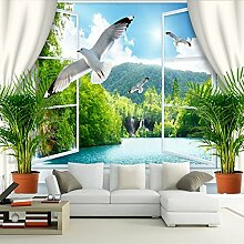 3D-Stereo-Raum-Tapeten-Hintergrund-Tapete Romantisches Seemöven-Wandbild Falsches Fenster 3D Tapeten-Wandgemälde 350Cmx250Cm