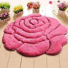 3D Stereo Rose Blume Runde Teppich Tür Matte