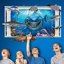 3D Stereoscopic Seabed Fishes Joan Fisch Wand Aufkleber Home Aufkleber PVC Wandmalereien, Vinyl, Papier, House Dekoration Tapete Wohnzimmer Schlafzimmer Küche Kunst Bild DIY für Kinder Teen Senior Erwachsene Kinderzimmer Baby
