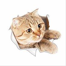 3D Stereoskopische Katze Gebrochen Wand Cartoon
