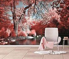 3D stereoskopische rosa schöne Wald Fototapete