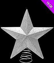 3D Stern glitzernd glänzend Weihnachtsbaumspitze Weihnachten Xmas Party Dekorationen Geschenk Swirl silber