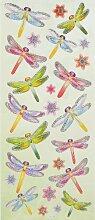 3D Sticker mit Glitter / Glimmer * Libelle