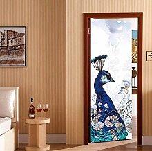 3D Stolze Pfau Tür Aufkleber Für Wohnzimmer