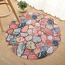 3d stone door round mat/badezimmer mit non-slip foot pads-A Durchmesser80cm(31inch)