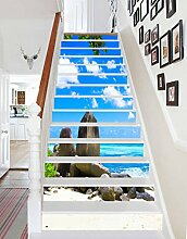 "3D Strand Landschaft 049 Stair Risers Dekoration Fototapete Vinyl Aufkleber Tapete DE Carly (13x H:18cm x W:94cm (7""x37""))"