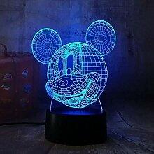 3D süßes Lächeln Mickey Mouse 3D LED Nachtlicht